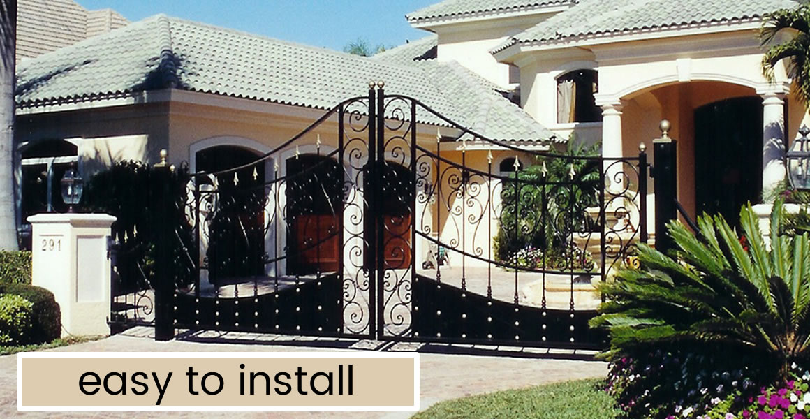 Wrought iron driveway gates and fence automatic gate for Single gate designs for homes