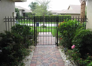 wrought iron garden gate with fence